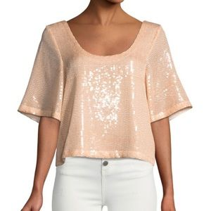 Free People Night Fever Sequin Tee Cropped NWT